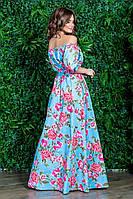 Платье летнее женское голубое в розовый цветочный принт с открытыми плечами длинное в пол рукав фонарик
