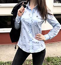 Женская рубашка Polo Ralph Lauren голубая с цветами