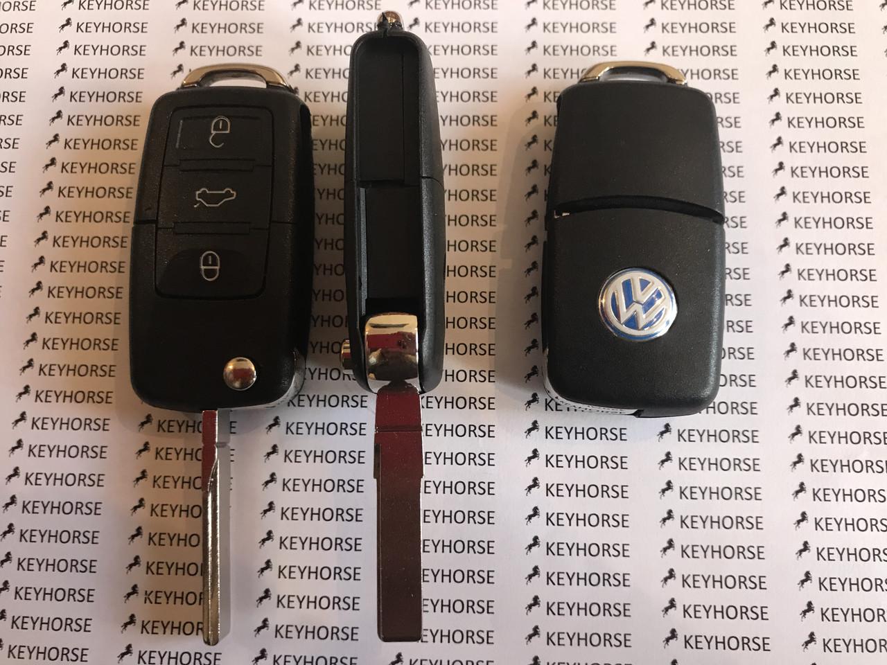 Выкидной автоключ Фольксваген (Volkswagen) 3 кнопки микросхемой 1JO 959 753 B - 434 Mhz, с ID48 чипом