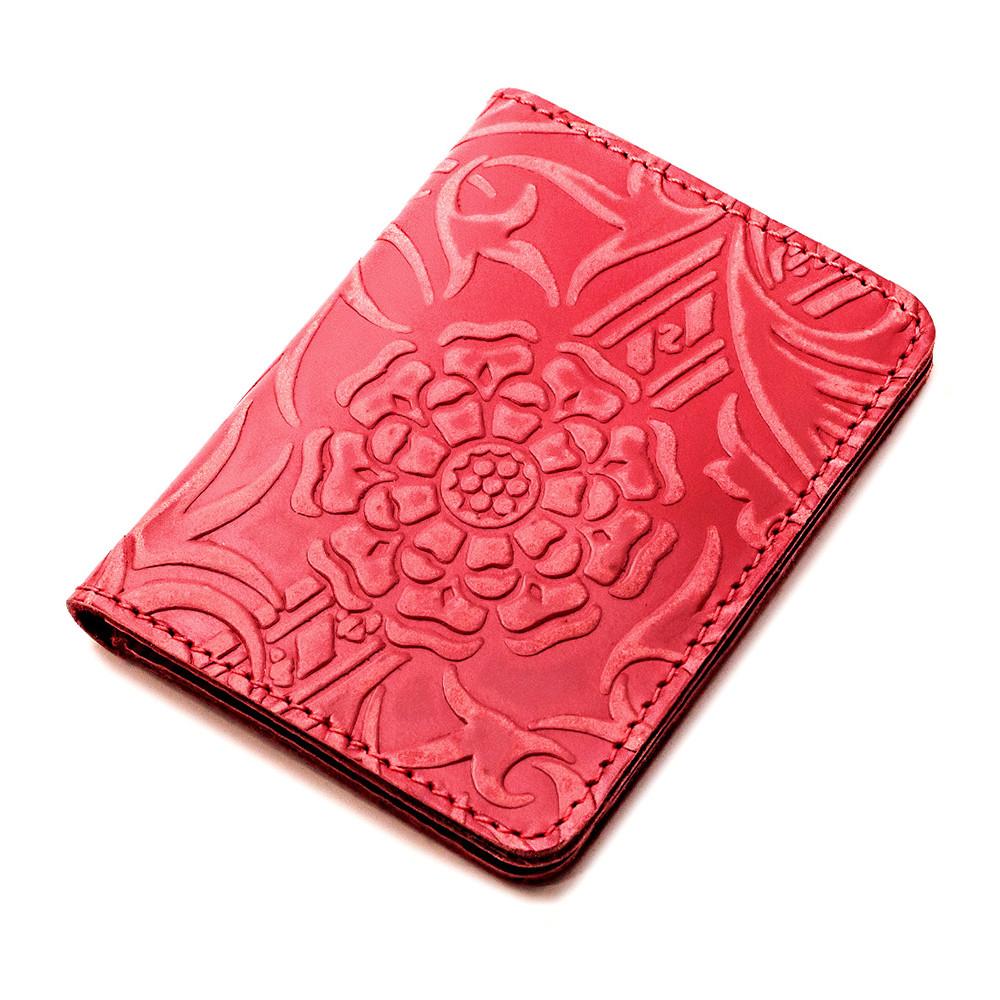Обложка на ID паспорт, права кожаная Амелия 01 (красный цветок)