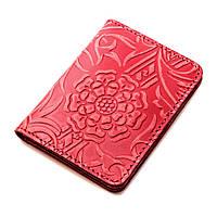 Обложка на ID паспорт, права кожаная Амелия 01 (красный цветок), фото 1