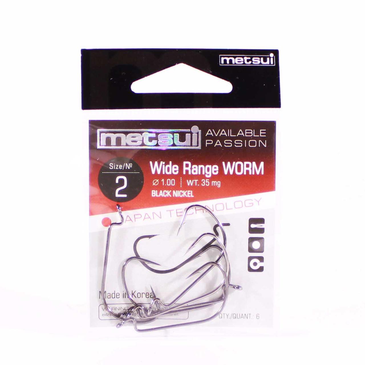 Крючок METSUI Wide Range Worm №2 офсетный (6 шт.)