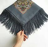 Горожанка 1836-1, павлопосадский платок шерстяной  с шелковой бахромой, фото 8
