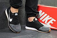 Мужские кроссовки в стиле Nike Flyknit Racer, черные с серым 44 (28 см)