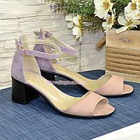 Босоножки женские замшевые на невысоком устойчивом каблуке, фото 1