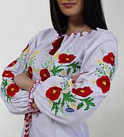 Купити дитячу вишиванку вишиту маками для дівчинки