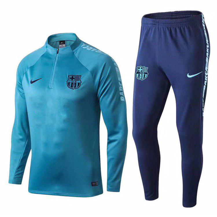Спортивный костюм Барселона сине-голубой (Тренировочный клубный костюм Barcelona)+Горловик в подарок