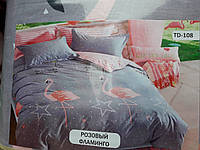 """Комплект постельного белья """"Тиротекс"""" - Розовый Фламинго (Евро размер)"""