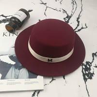 Шляпа женская  канотье в стиле Maison Michel бордовая (марсала)