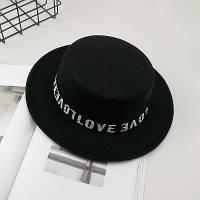 Шляпа женская канотье Love черная