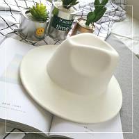 Шляпа женская Федора с устойчивыми полями белая