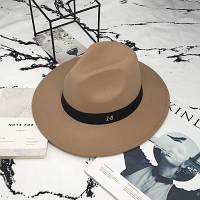 Шляпа женская Федора с лентой в стиле Maison Michel и устойчивыми полями бежевая