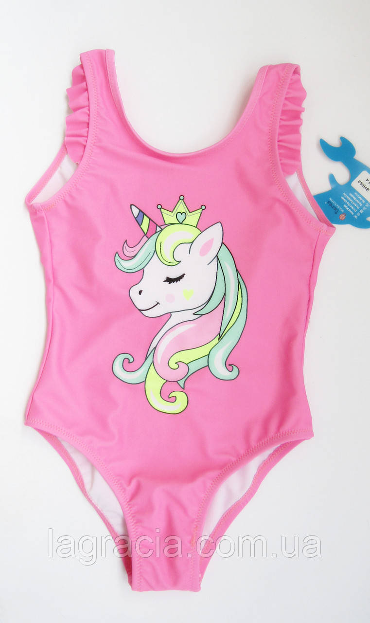 Сдельный детский купальник для девочки от 2 до 8 лет Розовый