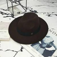 Шляпа женская Федора с лентой в стиле Maison Michel и устойчивыми полями коричневая
