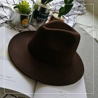 Шляпа женская федора, устойчивые поля, коричневый