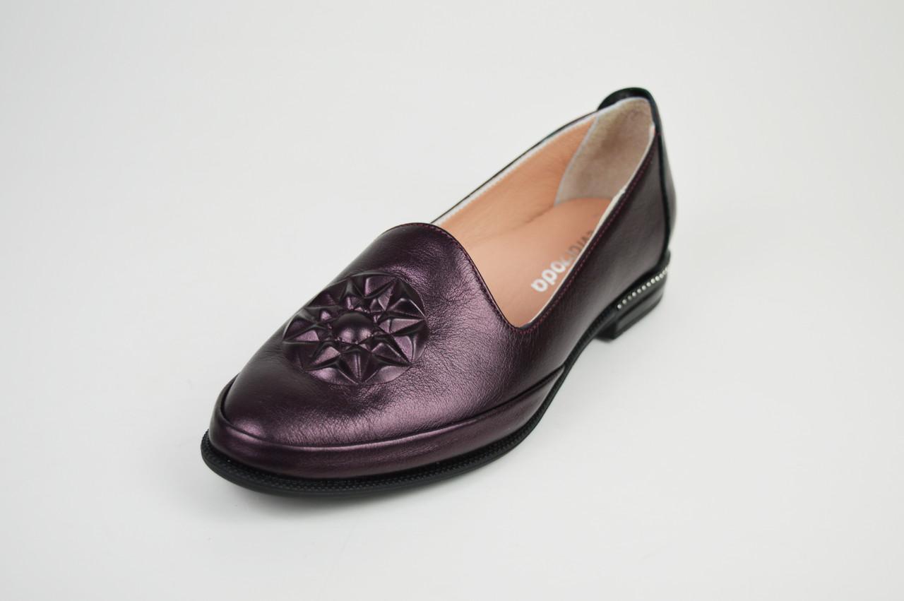 Туфли женские кожаные бургунд Evromoda 176