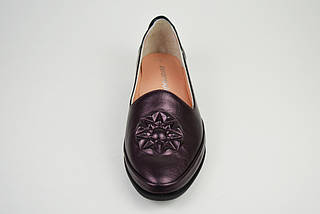 Туфли женские кожаные бургунд Evromoda 176, фото 3