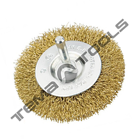 Щетка дисковая со стержнем ¼ из рифленой проволоки 100 mm
