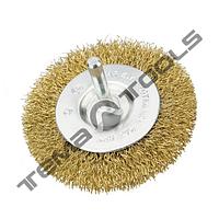 Щетка дисковая со стержнем ¼ из рифленой проволоки 75 mm