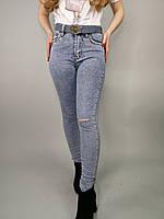 Женские джинсы-скинни на высокой посадке,с дырками на коленях,размер:25,26,27,28,29,30,Турция
