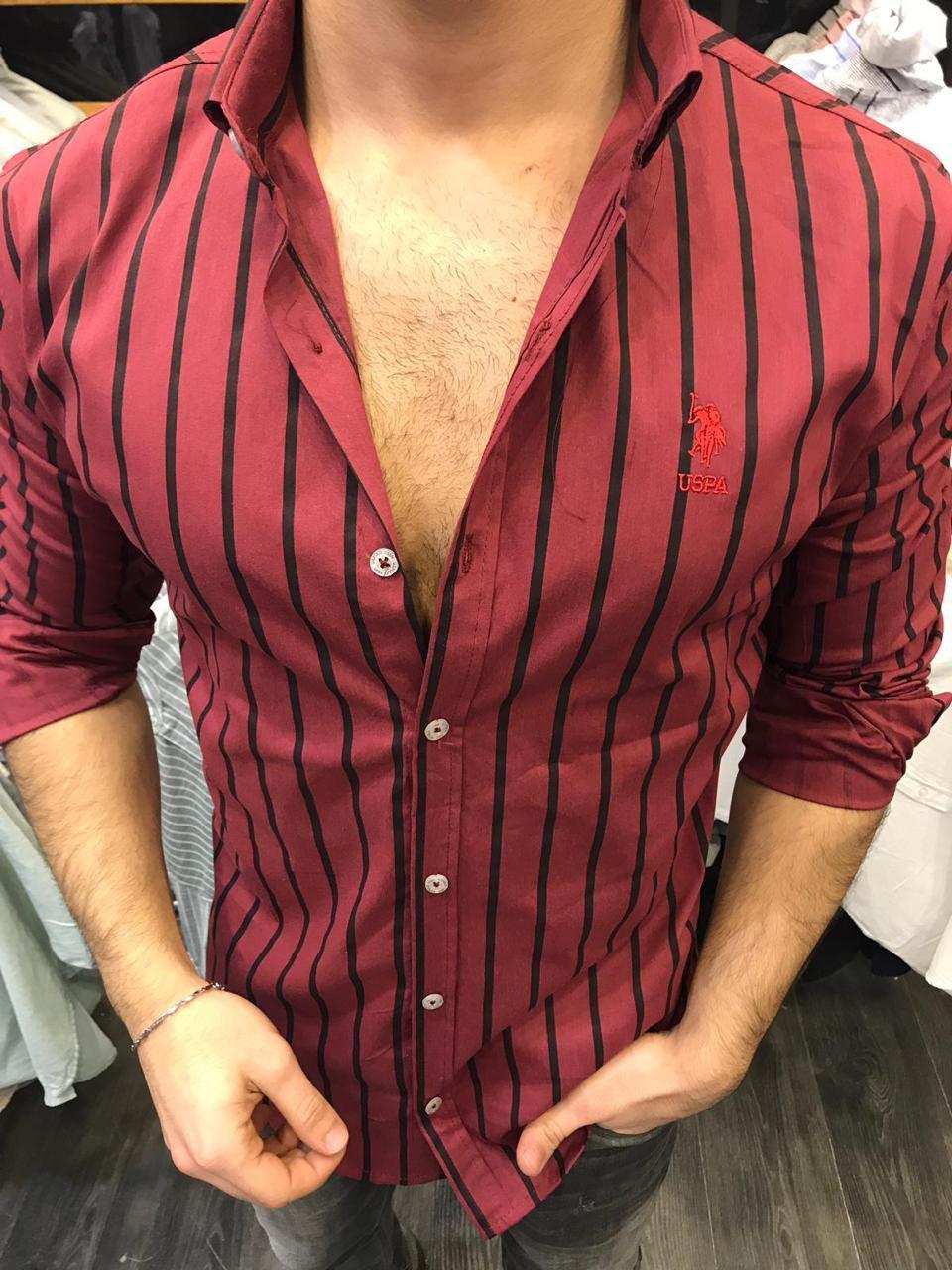 0e0d2abdc32 Мужская рубашка Поло 2 бордовая в полоску