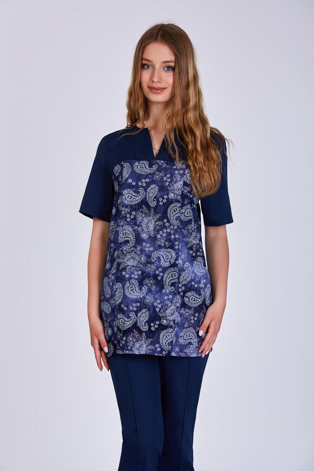 Костюм медицинский женский ФИАЛКА , темно-синий с вензелем