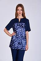 Костюм медицинский женский ФИАЛКА, темно-синий с листиками
