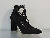 Элегантные женские туфли замшевые натуральные на каблуке со шнуровкой