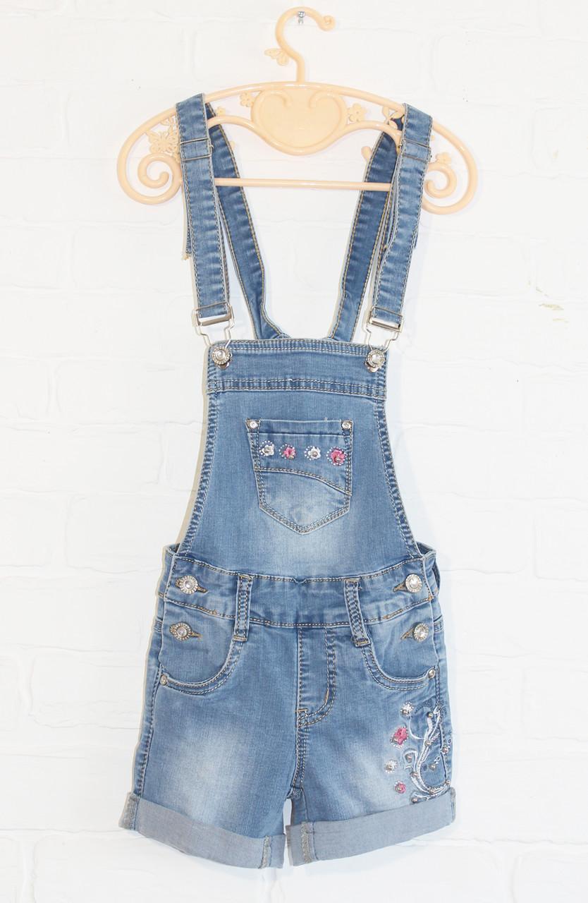 Комбинезон джинсовый с шортами на девочек от 3-4 до 13-14 лет