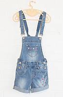 Комбинезон джинсовый с шортами на девочек от 3-4 до 13-14 лет, фото 1