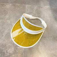 Женский летний пластиковый козырек желтый