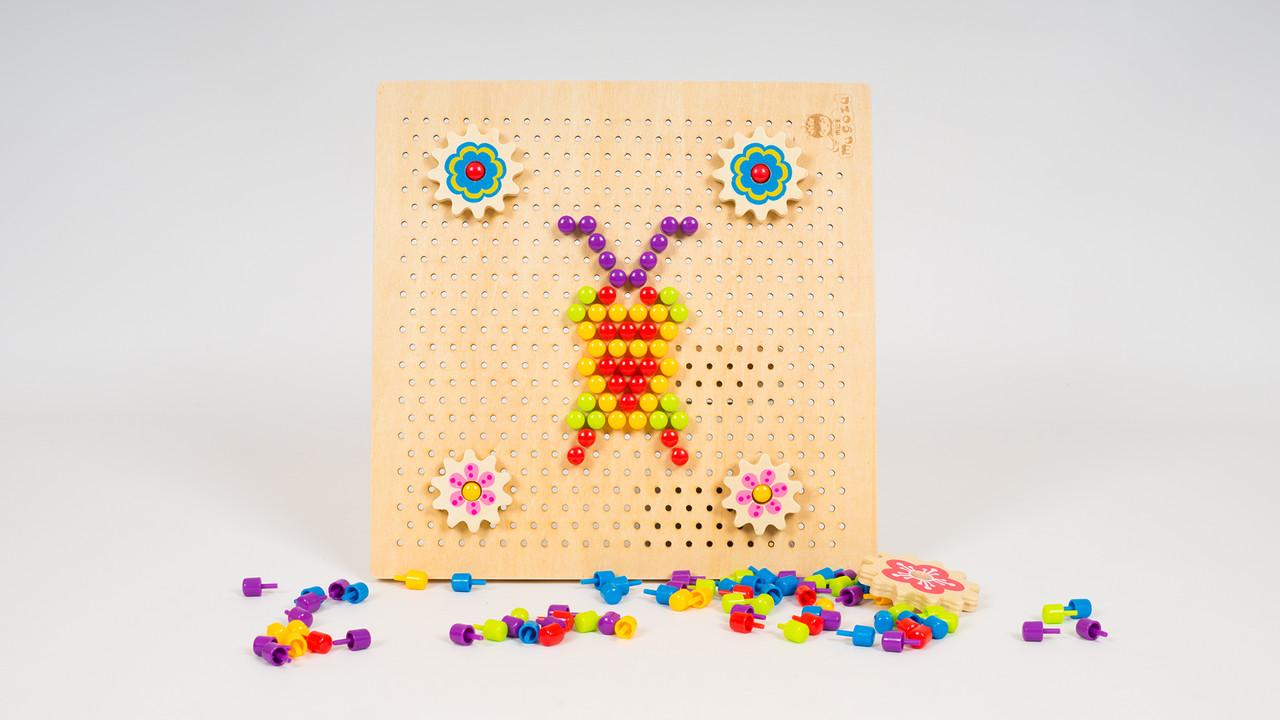 Деревянная игрушка мозаика MD 1185. Фишки и шестеренки