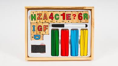 Деревянная набор первоклассника MD1169 (счеты: цифры: пенал: доска для рисования)
