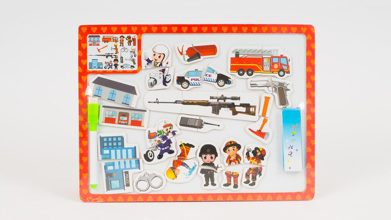 Деревянная игрушка досточка для рисования - магнитный пазл. Микс видов.