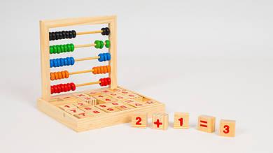 Набор первоклассника MD1166. В наборе деревянные цифры и счеты