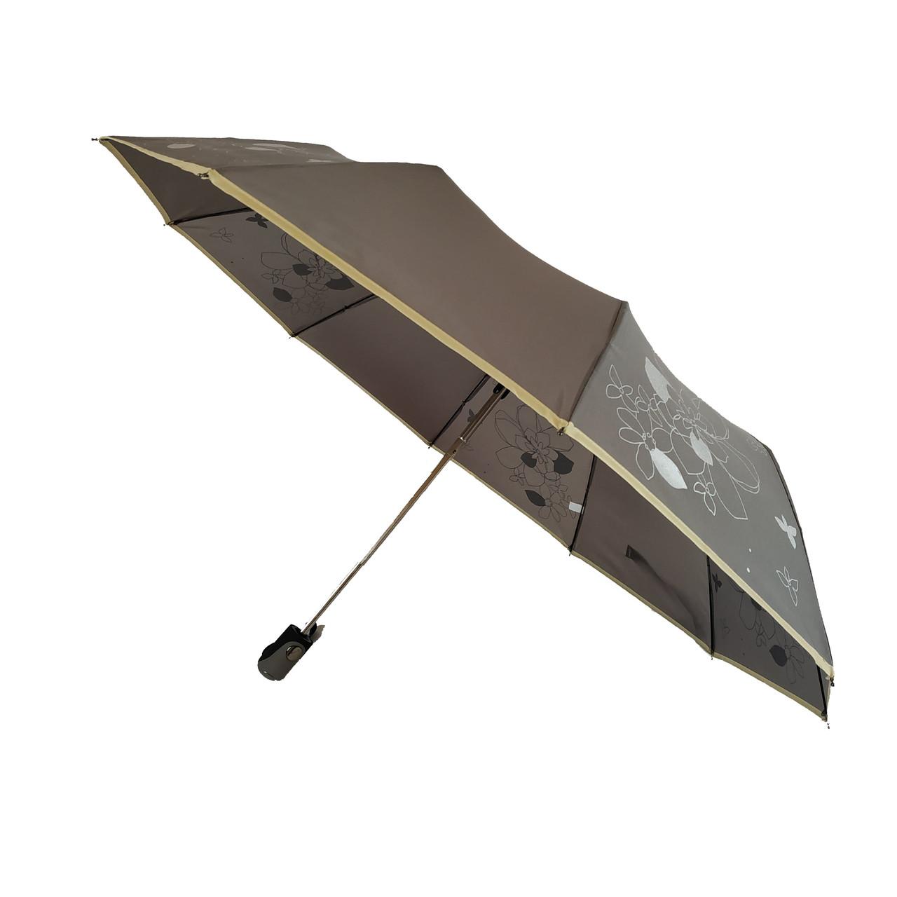 Женский зонт полуавтомат на 10 спиц Calm Rain, с изображением цветов, серый, 114-1