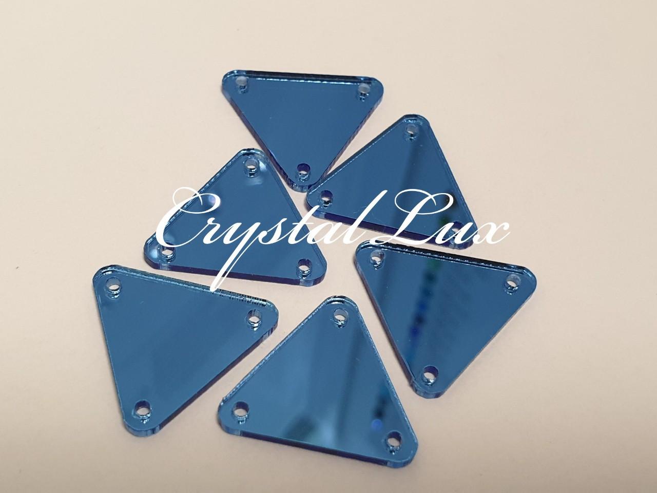 Зеркальные пришивные стразы A11 20*20 Aquamarine