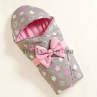 """Конверт на выписку  с капюшоном демисезонный """"Пряничные  звезды"""" Розовый с горошком, фото 1"""