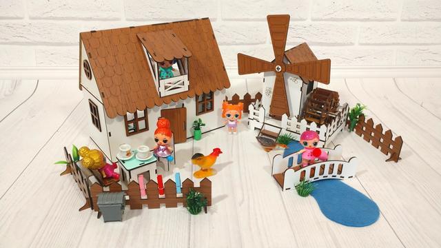 Домики для маленьких кукол Домик для LOL LITTLE FUN maxi + мебель + текстиль + ДВОРИК + ФЕРМА высота этажа - 20 см