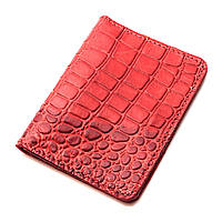 Обложка на ID паспорт, права кожаная Амелия 04 (красный крокодил)