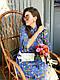 Платье в мелкий цветочек ниже колена высокая талия с рукавом, фото 3