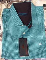 Мужская  рубашка с коротким рукавом приталенная в бирюзовом цвете