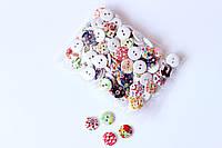 Набір круглих декоративних гудзиків Pugovichok для рукоділля і творчості 15мм в квіточку (упаковка) (SUN3954)