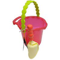 Набор для игры с песком и водой - ВЕДЕРЦЕ С ЛОПАТКОЙ (цвет томатный)