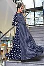 Женское вечернее платье синее с горохом и полоской, с запахом, праздничное, нарядное, элегантное, классическое, фото 4