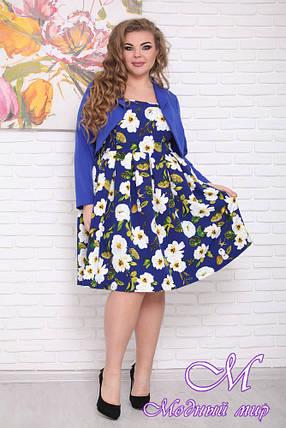 Женское платье с цветами + пиджак батал (р. 48-90) арт. Респект, фото 2