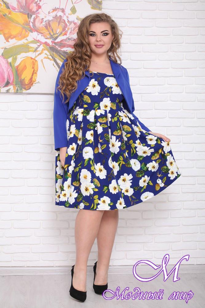 Женское платье с цветами + пиджак батал (р. 48-90) арт. Респект