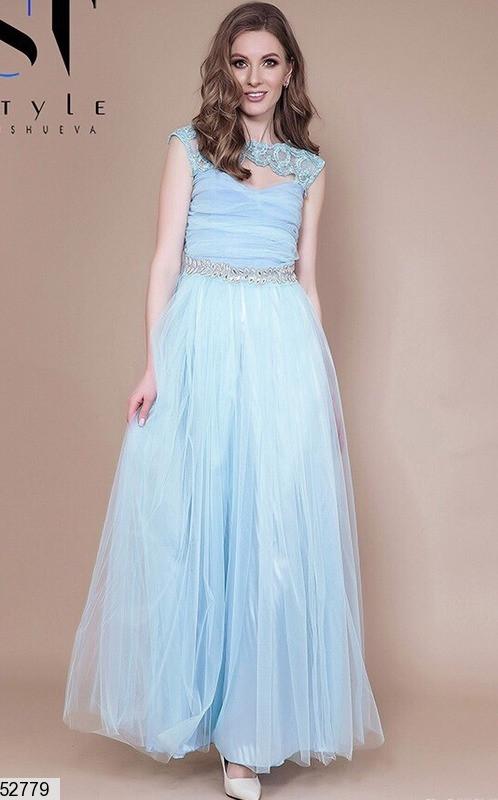 Вечернее платье макси юбка солнце клеш без рукав камни фатин голубого цвета
