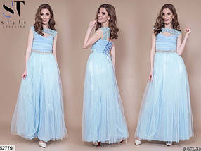 Вечернее платье макси юбка солнце клеш без рукав камни фатин голубого цвета, фото 2