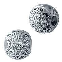 Родированный серебряный шарм-клипса 925 пробы с